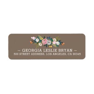 Feminine Floral Garland French Grey Return Address
