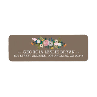 Feminine Floral Garland French Grey Return Address Return Address Label