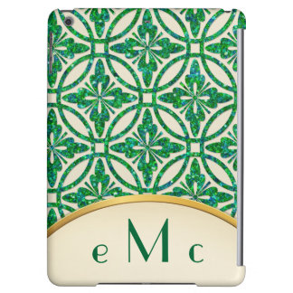 Feminine Floral Geometric Monogram iPad Air Cases