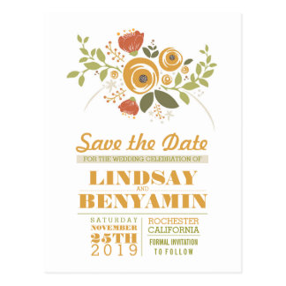 Browse the Floral Save The Date Postcards Collection and personalise by colour, design or style.
