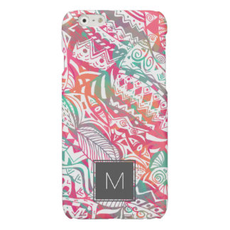 feminine hand drawn pink tribal floral pattern
