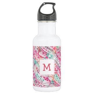 feminine hand drawn pink tribal floral pattern 532 ml water bottle