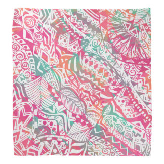 feminine hand drawn pink tribal floral pattern bandana
