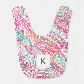 feminine hand drawn pink tribal floral pattern bib