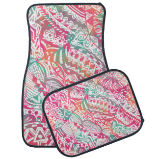 feminine hand drawn pink tribal floral pattern car floor carpet