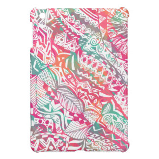 feminine hand drawn pink tribal floral pattern case for the iPad mini