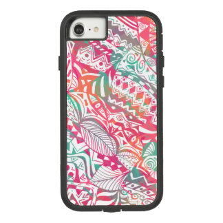 feminine hand drawn pink tribal floral pattern Case-Mate tough extreme iPhone 8/7 case