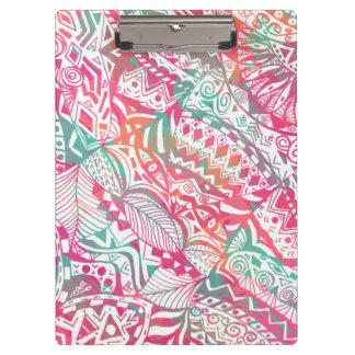 feminine hand drawn pink tribal floral pattern clipboard