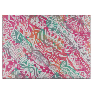feminine hand drawn pink tribal floral pattern cutting board