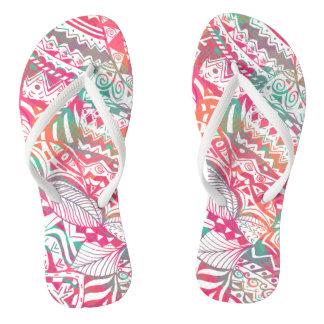 feminine hand drawn pink tribal floral pattern flip flops
