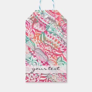 feminine hand drawn pink tribal floral pattern gift tags
