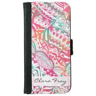 feminine hand drawn pink tribal floral pattern iPhone 6 wallet case