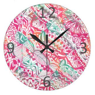 feminine hand drawn pink tribal floral pattern large clock
