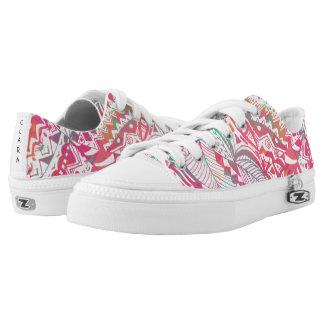 feminine hand drawn pink tribal floral pattern Low-Top sneakers