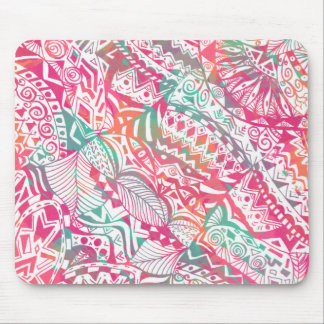 feminine hand drawn pink tribal floral pattern mouse pad