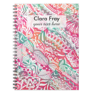 feminine hand drawn pink tribal floral pattern notebook