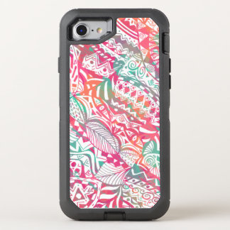 feminine hand drawn pink tribal floral pattern OtterBox defender iPhone 8/7 case
