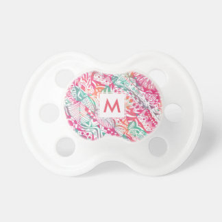 feminine hand drawn pink tribal floral pattern pacifier