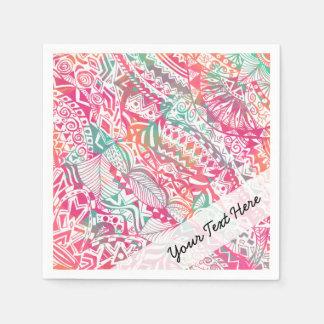 feminine hand drawn pink tribal floral pattern paper napkins