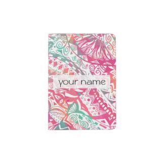 feminine hand drawn pink tribal floral pattern passport holder