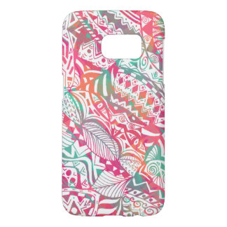 feminine hand drawn pink tribal floral pattern samsung galaxy s7 case