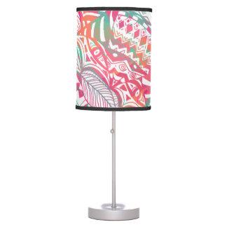feminine hand drawn pink tribal floral pattern table lamp