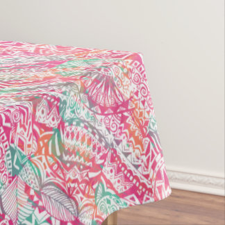 feminine hand drawn pink tribal floral pattern tablecloth