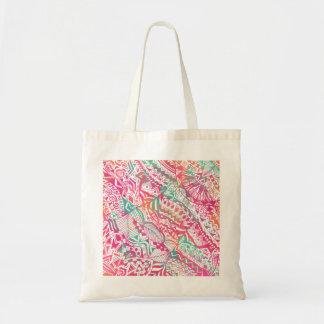 feminine hand drawn pink tribal floral pattern tote bag
