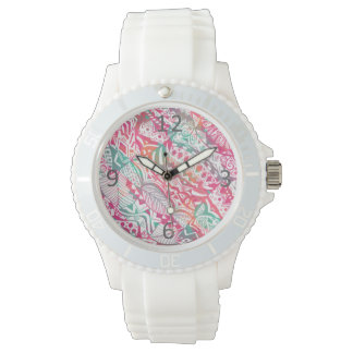 feminine hand drawn pink tribal floral pattern watch