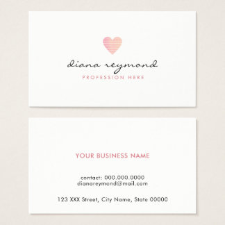 feminine love pink heart professional women business card
