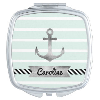 Feminine Mint Stripes Watercolor Anchor Custom Makeup Mirrors