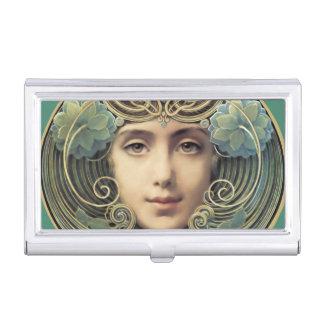 Feminine Nouveau Vintage Beauty Business Card Holder