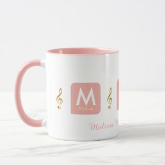 feminine pink mug for her with music notes