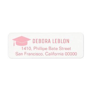 feminine pink return address label with name grad
