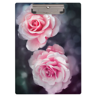 Feminine Pink Roses Floral Photo Clipboard