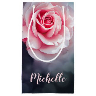 Feminine Pink Roses Floral Photo Small Gift Bag