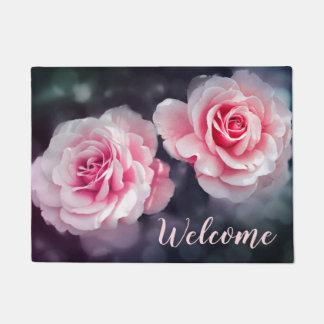 Feminine Pink Roses Floral Photo Welcome Doormat