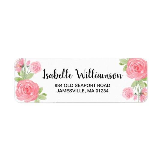 Feminine Pink Roses Return Address Labels