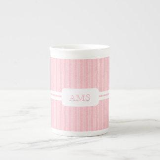 Feminine Pink Stripe Monogram Initials Porcelain Mug