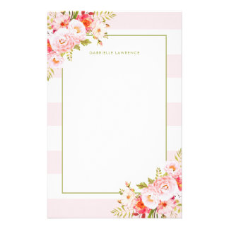 Feminine Pink Stripes and Peonies Stationery