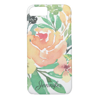 Feminine pink watercolor peony leaves personalized iPhone 8/7 case