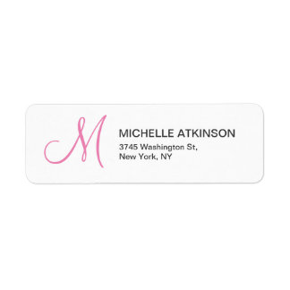 Feminine Pİnk White Monogrammed Modern Plain Return Address Label