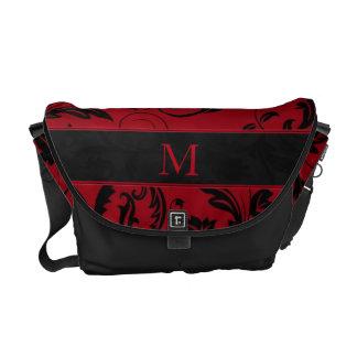 Feminine Red and Black Damask Monogrammed Commuter Bag