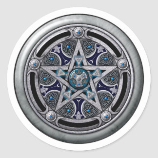 Feminine Silver Pagan Pentacle Classic Round Sticker