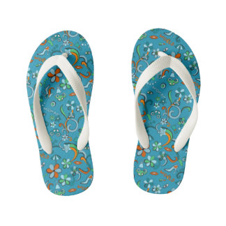 Feminine stylish fashion pop art style pattern kid's flip flops