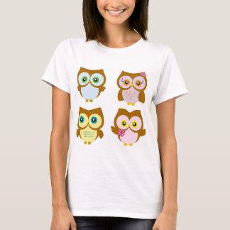Feminine t-shirt - colorful Owls