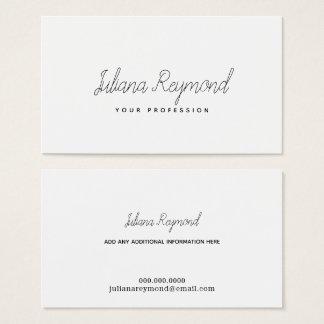 feminine thin handwritten cursive on white business card