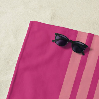 feminine two tones pink stripes monogrammed beach towel