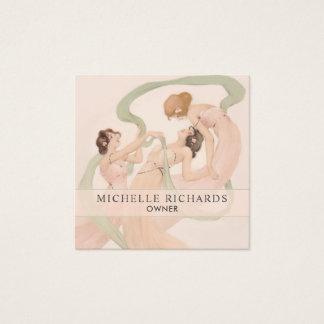 Feminine Vintage Nouveau Mayflies Square Business Card