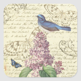 Feminine vintage sticker with bird and lilac